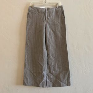 Calvin Klein Cream Pinstriped Wide Leg Trousers 6